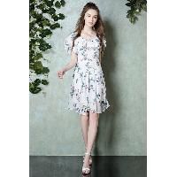 Poly A-line Scoop Collar Short Sleeve Flora Print Plated Dress