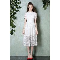 White Elegant Short Sleeve High-Waist Round Collar Calf Length Embroidery Dress