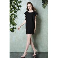 Black Scoop Neckline Sleeveless Mid-Thign Length Loose Fit Dress