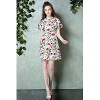 Short Petal Sleeve Mid-calf Length Round Collar High-waist Flora Print Dress