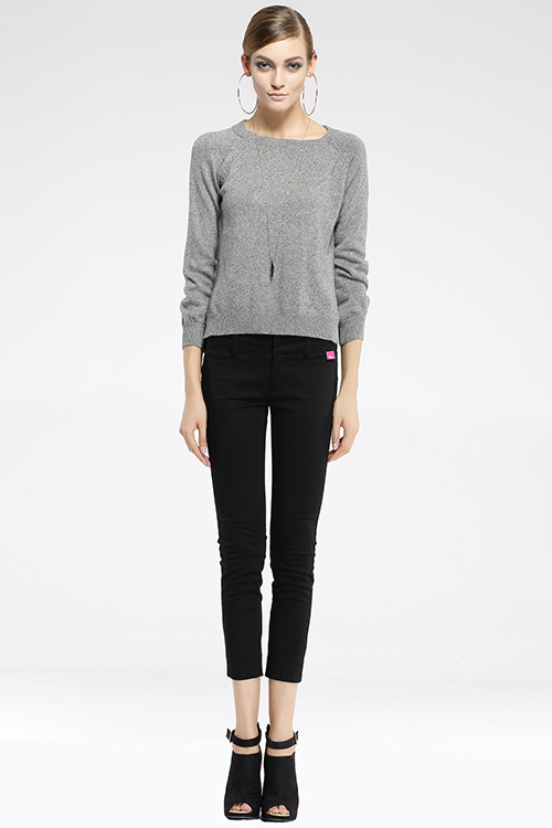 Gray Simple Round Collar Long Sleeve Cashmere Sweater Pullover Warm Winter / Autumn