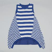 Ladies Stripe Tunic with Woven Back Panel, LKTE15A020
