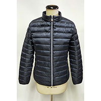Woven Recycle Quilted Jacket with Stand Collar