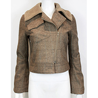 Woven Yarn Dye Check Short Jacket with Imitation Fur Collar
