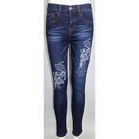Woven Denim Embroidery Jeans with Fancy Sandblast Wash