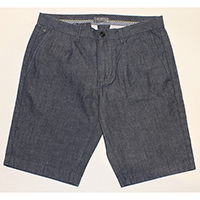 Woven Chambray Shorts with Slant Pocket and Pleat at Front