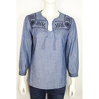 Woven Denim Tie Collar Blouse with Embriodary at Shoulder and Cuff
