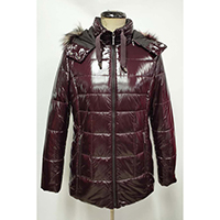 Woven Quilted Padding Jacket with Imitation Fur Hood
