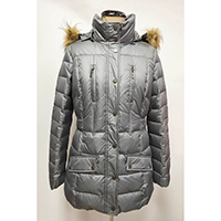 Woven Quilted Down Jacket with Imitation Fur Hood and Chest Zip Pocket