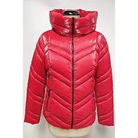 Woven Quilted Jacket, Stand Collar, Zip Pocket at Front
