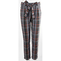Woven Plaid with Self Fabric Belt Pants