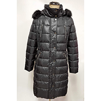 Woven Quilted Long Coat with Imitation Fur Hood, 4 Zip Pocket at Front