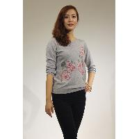 Sweater with Rose Flower (Cross Stitch Embroidery)