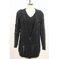 Drop Needle Zip-Up Cardigan