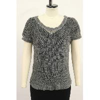 Upper Mesh with Ladder Stitch Short Sleeve Cardigan