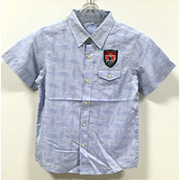 Leisure Kid's Cotton Easy Care Printed Pattern Casual Shirt with a Badge and Flaped Chest Pocket