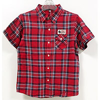 Children's 100% Cotton Slim Fit Christmas Plaid Short Sleeve Woven Shirt
