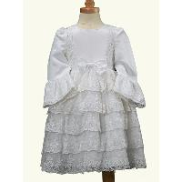 Spring OEM Evening Cute Design Children Bow Waistband Zip Back Fluffy Lace Cotton Lining Wedding Dress Birthday Dress