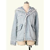 High Quality Europe Bohemian Plus Size Tailor Made Soft Hand Feel Denim Jacket Zip Front and 2 Insert Pokcets