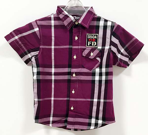 Premium Sharp Price Children's 100% Cotton Burrberry Plaid Short Sleeve Woven Shirt