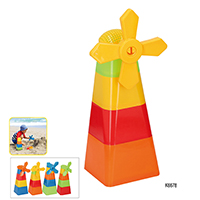 5 PCS PLASTIC WINDMILL & SAND BUCKET/MOULD SET