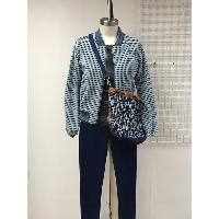 Ladies Indigo Knitted Bomber Jacket with Indigo Knitted Jean, KCP-001