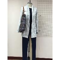 Ladies Knitted Jaquard Cardigan with Knitted Indigo Jean