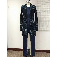 Ladies Knitted Jacquard Terry Cardigan with Indigo Knitted Jean