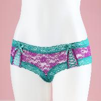 Allover Lace with Ribbon Criss-cross Boyshort