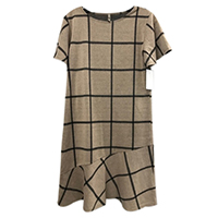 Short Sleeve Windowpane Flounce Dress