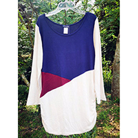 Diagonal Colorblock Top With Side Ruche