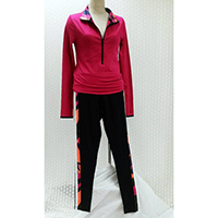 Ladies Sport Shirt with Front Zipper And Jogger w/Side Stripe Colorblock