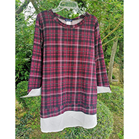 Yummi Print 2 Fer Top With Wool Dobby Contrast