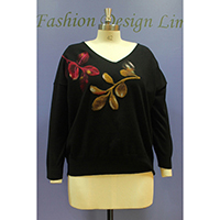 Ladies Knitted Pullover with Needle Punch