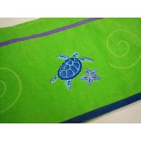 100% Cotton Woven Velour Jacquard Embossed Beach Towel with Embroidery & Applique