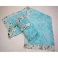 100% Cotton Woven Fiber Reactive Printed Velour Beach Towel With Fabric Trimming