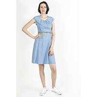 Light Denim Dress with Belt
