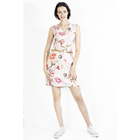 Digital Printed Linen Sleeveless Dress