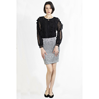 T-1906016-1 Top: Lace Blouse with Pleats, T-1906016-2 Bottom: Silver Sequins Skirt