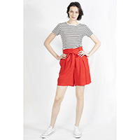 T-1906021-1 Top: Knitted Linen Stripe Top, T-1906021-2 Bottom: Paperbag Shorts with Belt