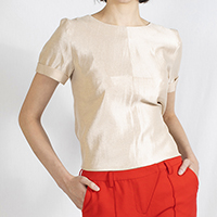 Shiny Top with Folded Sleeves