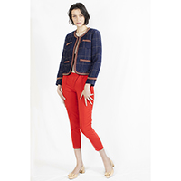 T-1906023-1 Jacket: Tweed Jacket with Decorative Tape, T-1906023-3 Pants: Red Pants
