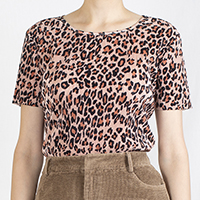 Leopard Print Pleated Top