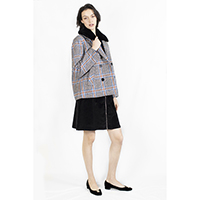 Check Woolen Short Jacket with Removable Faux Fur Collar