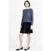 T-1906026-2 Top: Cotton Cable Knitted Pullover, T-1906026-3 Skirt: Corduroy Skirt with Ring Zipper in Front