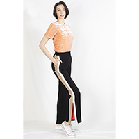 T-1906030-1 Top: Burnt-out Velvet Top, T-1906030-2 Pant: Side Stripes Long Pant with Zipper Slit