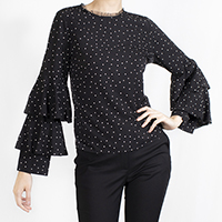Dotted Blouse with Layered Sleeves