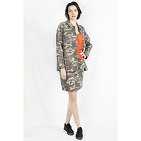 T-1906036-1 Jacket: Camo Print Millitary Jacket, T-1906036-2 Top: Crepe Polyester Top with Spagetti Straps, T-1906036-3 Skirt: Camo Print Short Skirt