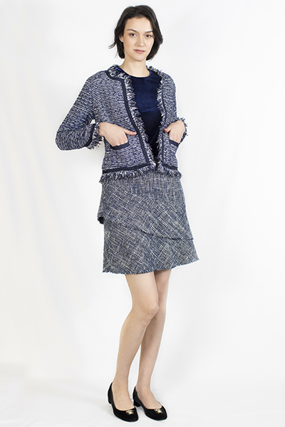 T-1906035-1 Jacket: Tweed Jacket with Raw Edges, T-1906035-2 Velvet Top, T-1906035-3 Tweed Skirt in Layers