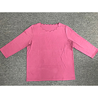 Ladies 3/4 Sleeve Knitted Tee with Scallop Neck